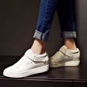 Thick-soled trainers within high pointed shoes fall of Lok Fu shoes leather casual shoes shoes with round head cushion shoes