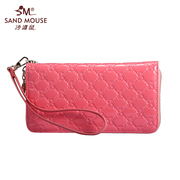 Autumn 2015 bovine patent leather embossed rhombic letter card zip around wallet-purse hand bag