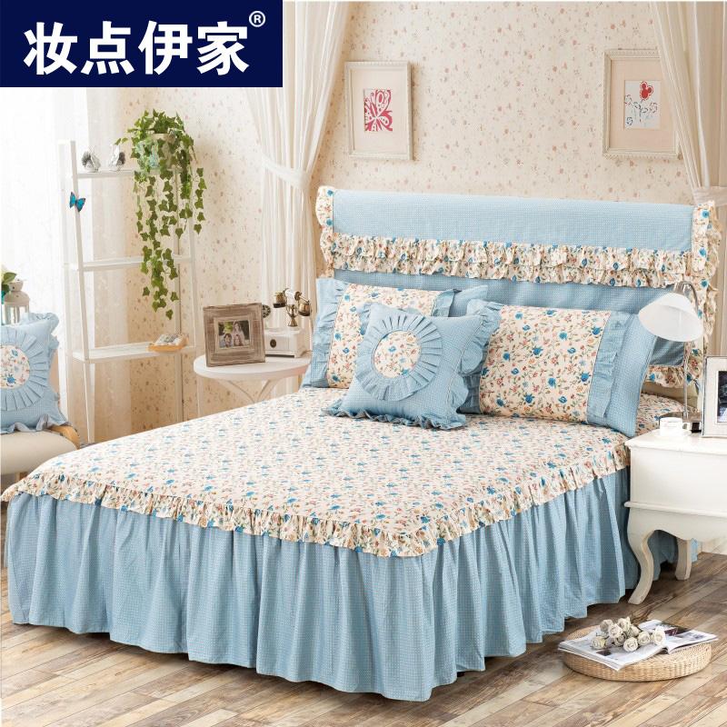床裙床罩純棉 全棉公主1.51.8m米床雙人床罩單件床單床蓋防滑床套