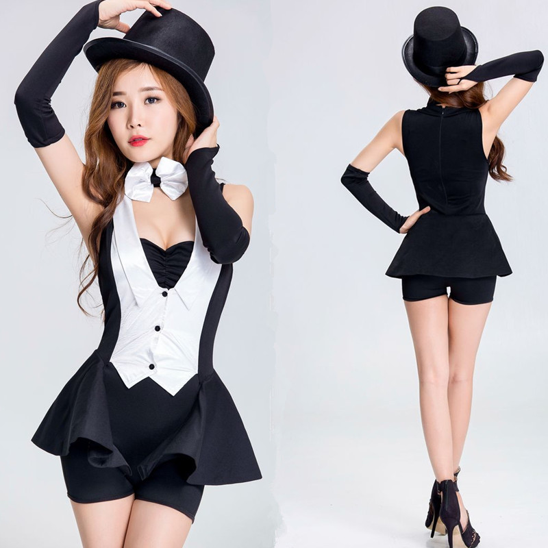 Modern jazz performance clothes womens bar night club DS sexy dance clothes adult magician swallow tail performance clothes
