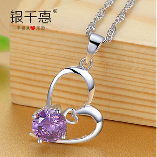 Silver Chieko silver necklace female models South Korean fashion jewelry pendants couple romantic Valentine s Day gift to send his girlfriend