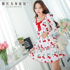 Summer dress big pink doll 2015 new ladies dresses long sleeve slim dress