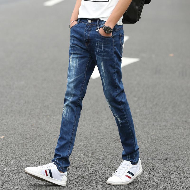 修身牛仔褲男青少年彈力破洞小腳褲男青年 款 加絨褲子
