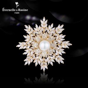 法国Eternelle巴洛克复古宫廷风饰品胸花 圣诞节礼物雪花胸针配饰