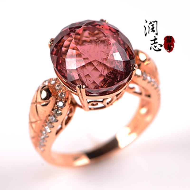 RZ Runzhi jewelry natural red tourmaline ring womens 18K Gold Diamond Jewelry band certificate b6152 authentic