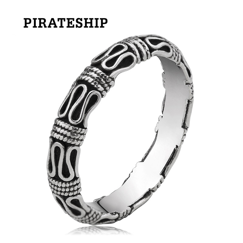 海盗船925银戒指平安纹魔戒复古情侣对戒指男女食指饰品个性刻字