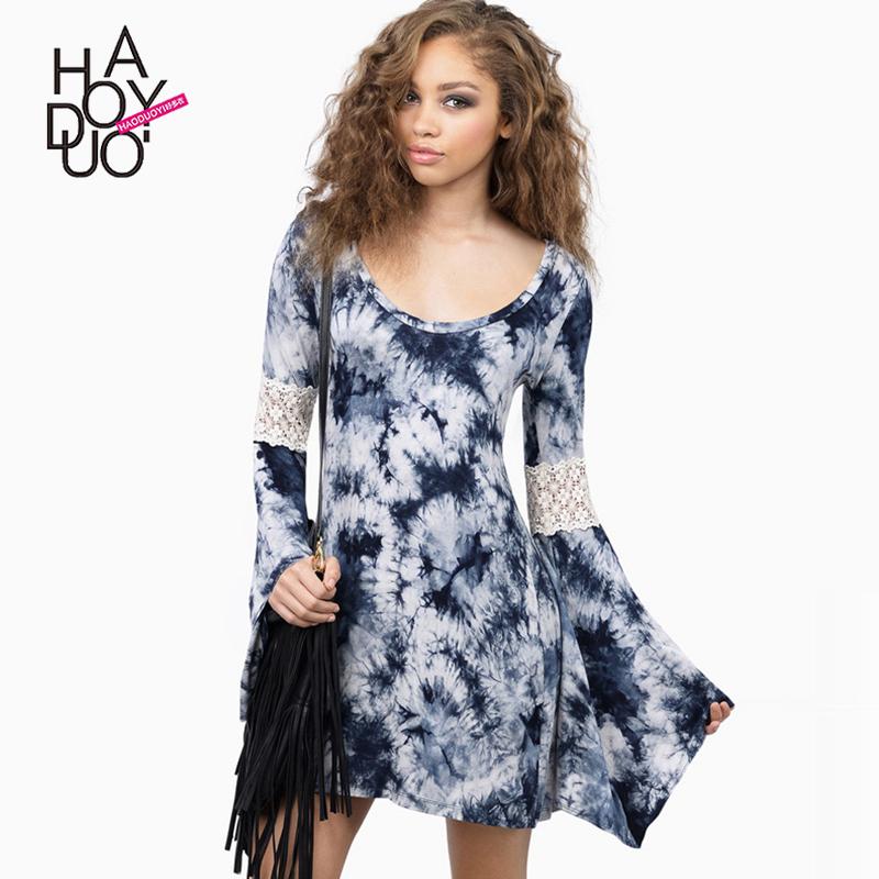 出口专柜尾货品牌折扣丹麦英国单欧美时尚印染蕾丝拼接宽松连衣裙