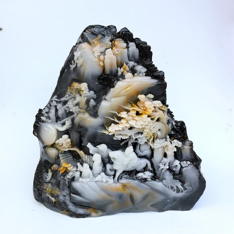 摆件天然奇石观赏大石头客厅仿寿山石雕刻天然玉器玉石玉雕工艺品 Изображение 1