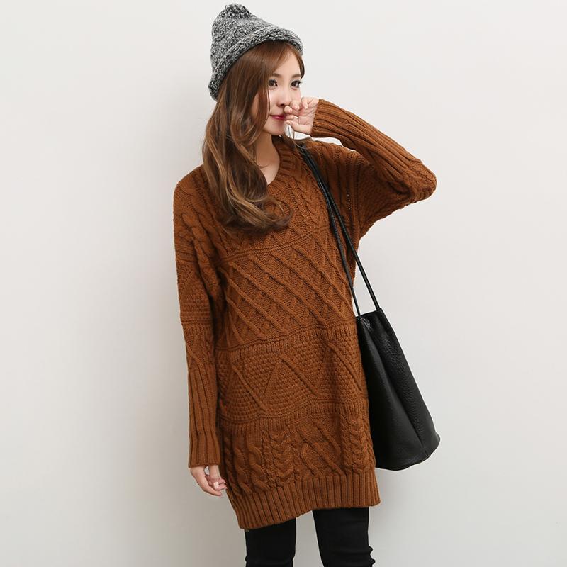 Длинный Корейский зимний свитер женщин мыс мягкий с длинным рукавом ретро твист грубой шерсти свитер платье сыпучих студентов