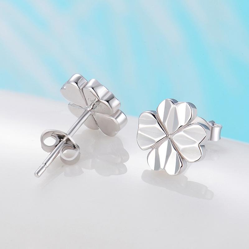 S999純銀四葉草耳釘女韓國簡約氣質防過敏耳環百搭 日韓耳飾