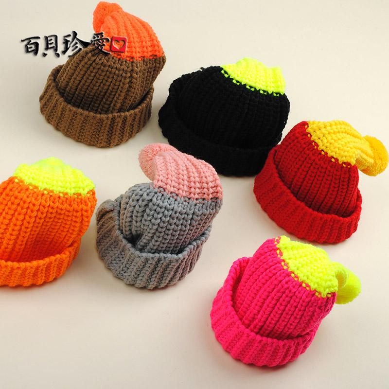 2 по электронной почте корейской версии воробьиный детей Hat флуоресцентный цвет соответствия мальчиков и девочек с конфеты цветные шерсти шляпы трикотажные шляпы