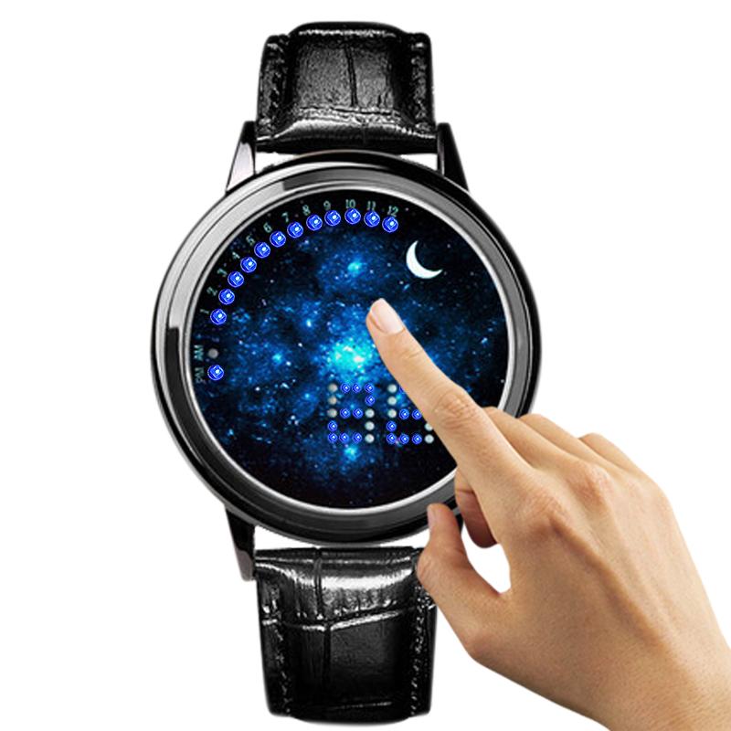 新品潮流星空觸控手表真皮led電子表男女生學生情侶防水皮帶
