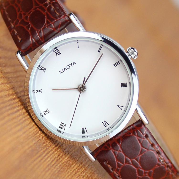 韓國版手表女學生 潮流複古簡約男表女表白色皮帶情侶手表一對