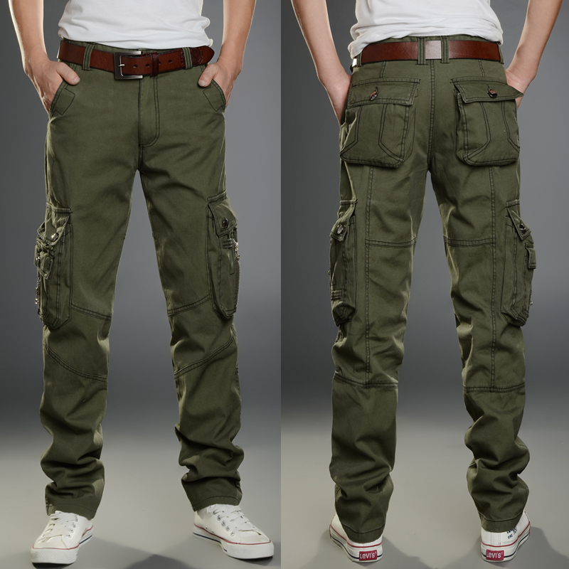 Spring and summer new style overalls mens straight tube multi bag loose pants outdoor sports leisure wear-resistant work Camouflage Military pants