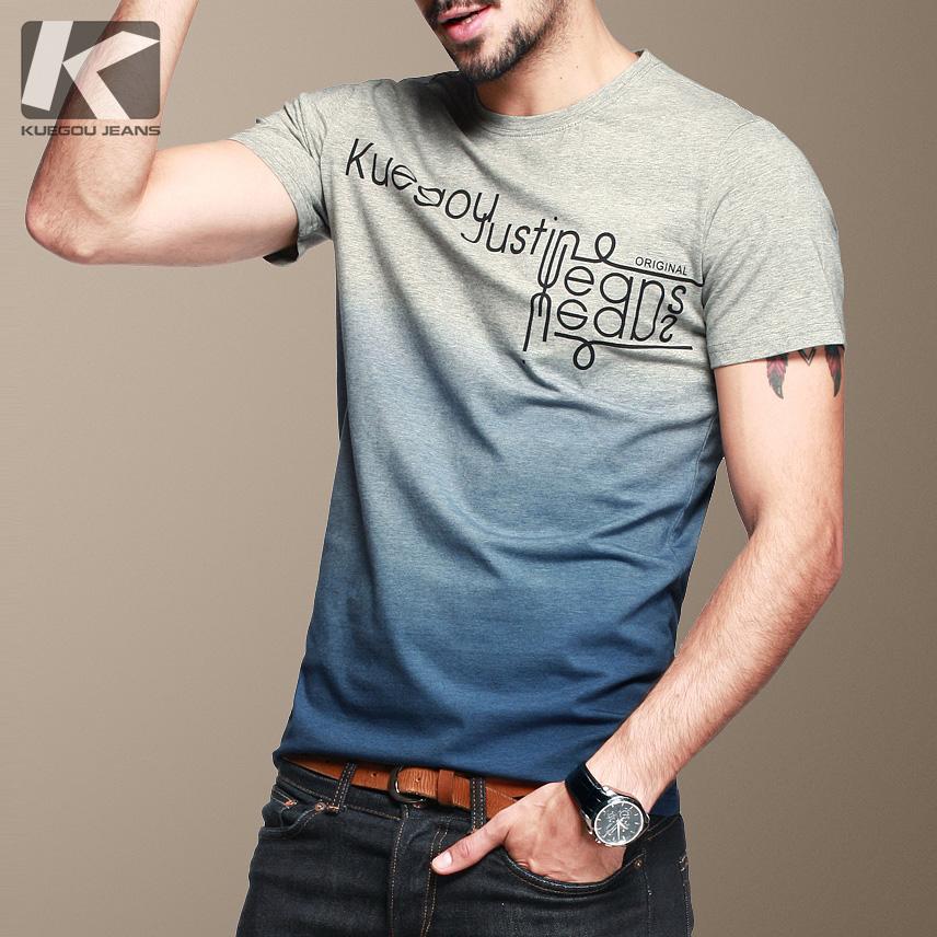 青年男士短袖t恤圆领纯棉夏季潮流修身字母印花简约韩版半袖男装
