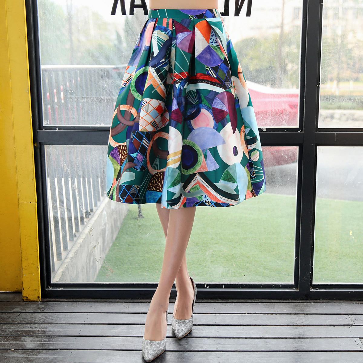 鬱香菲甜美別致抽象印花半身裙