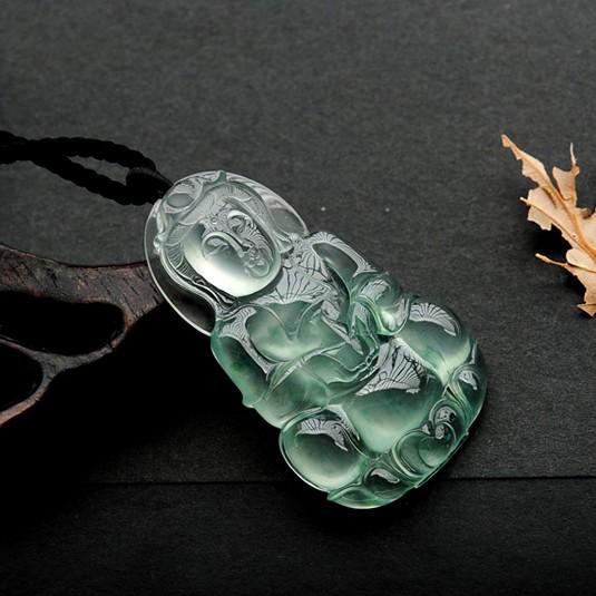 正品玻璃种翡翠观音挂件天然老坑A货浅绿色飘花玉石菩萨吊坠男款