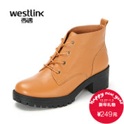 2015 West autumn Martin boots with chunky heels high heels new leather waterproof short boots women's shoes