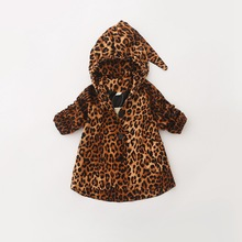 The autumn of 2015 the new foreign trade children's clothes Paragraph dust coat grows in demon cap of the girls Children's baby leopard grain coat