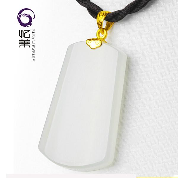 Yilai Xinjiang Hotan jade gold inlaid jade no matter Shield Pendant mens simple style with certificate package