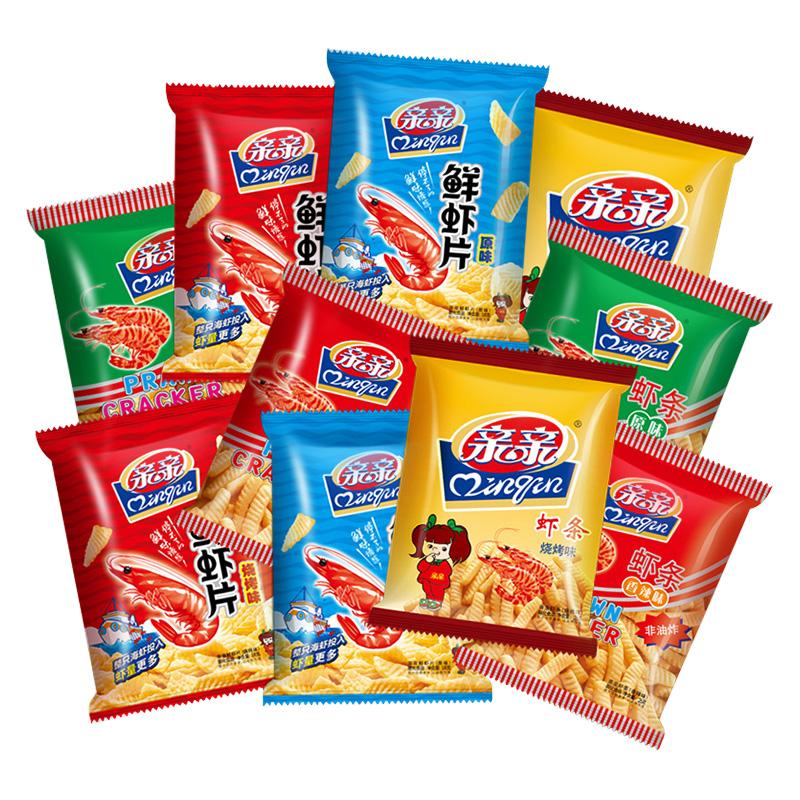 親親蝦條蝦片10包共228g非油炸薯片零食大禮包