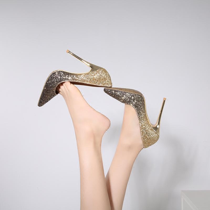 新款水晶新娘婚鞋女伴娘细跟超高跟12cm尖头高跟鞋亮片银色单鞋女