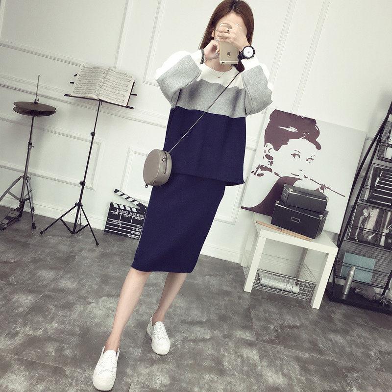 春秋季针织套装女装时尚两件套包臀裙秋装外套2017新款潮秋款韩版