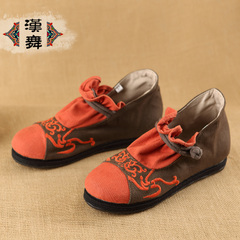 Chinese dance authentic old Beijing cloth shoes layer deep shoes buttons at the end of ethnic embroidery shoes simple