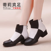 Tilly cool foot fall 2015 new fashion colour matching leather short boots ladies stubby with back zipper short boots women