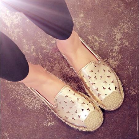Весна и лето в Европе и Америке новая соломенная vintage проколоть кожа ленивый Рыбак обувь женщин Приливный плоские, мелкие и удобная обувь
