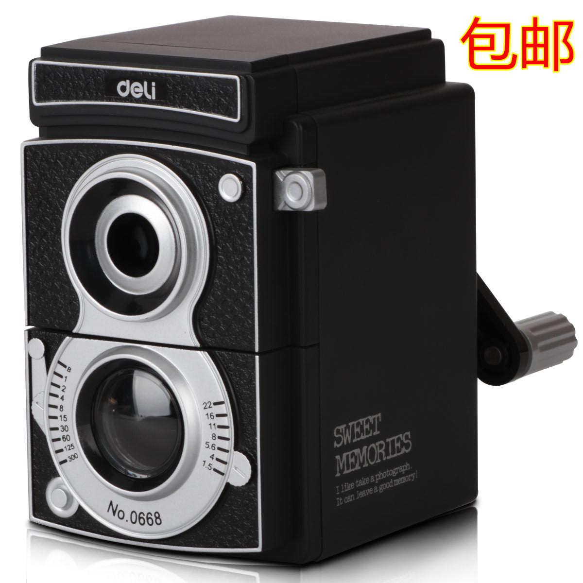 得力0668复古相机创意手摇削笔机