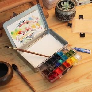 水彩颜料保湿调色盒24格36格便携专用写生调色灌装颜料盒包邮