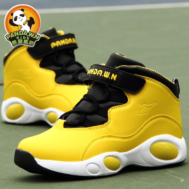 Childrens basketball shoes spring and autumn panda Winnie boys sports shoes shock absorption anti slip big boys basketball shoes