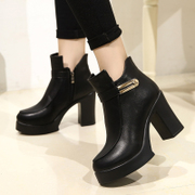 2015 winter New England style chunky heels high heels short boots and wool short boots with round head platform ankle boots women's shoes
