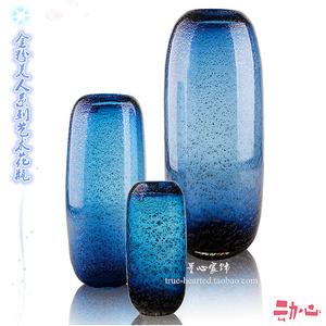 简约艺术蓝色水培玻璃花瓶摆件客厅装饰现代创意样板房装饰插花器