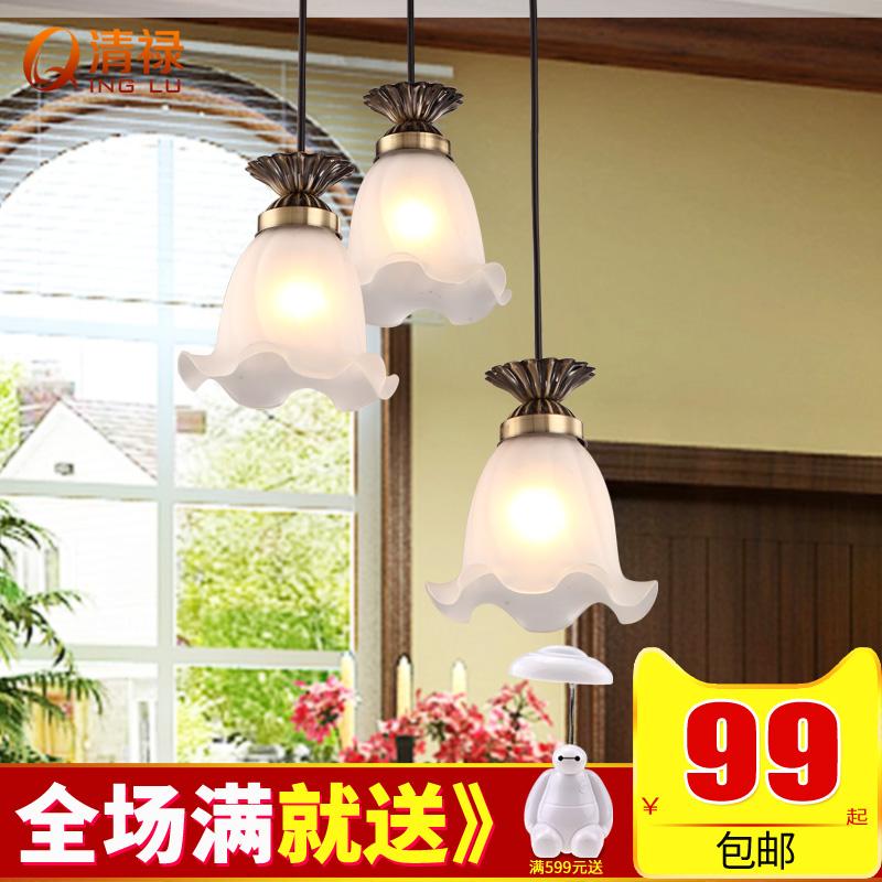清禄 美式餐厅灯吊灯三头 欧式简约铁艺吊灯简欧温馨吧台饭厅灯具