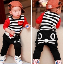 Quality goods package mailed 5-6-7-5-6-7 months 1 to 2 years old male baby children's clothing in the spring and autumn winter two dresses on sale