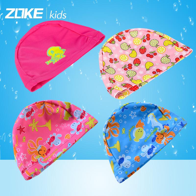 洲克兒童針織泳帽可愛水果花男女童彈力舒適海豚布帽寶寶遊泳帽