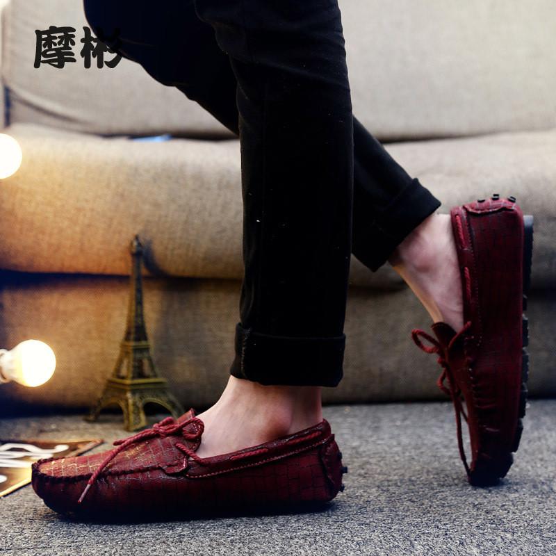 夏季韩版潮流男鞋子青少年潮鞋休闲潮男豆豆鞋懒人鞋一脚蹬红色