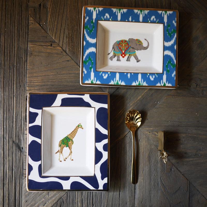 W1962 выход сша ретро волна животных золотой край декоративный большая тарелка так жираф вешать блюдо / костяной фарфор блюдо