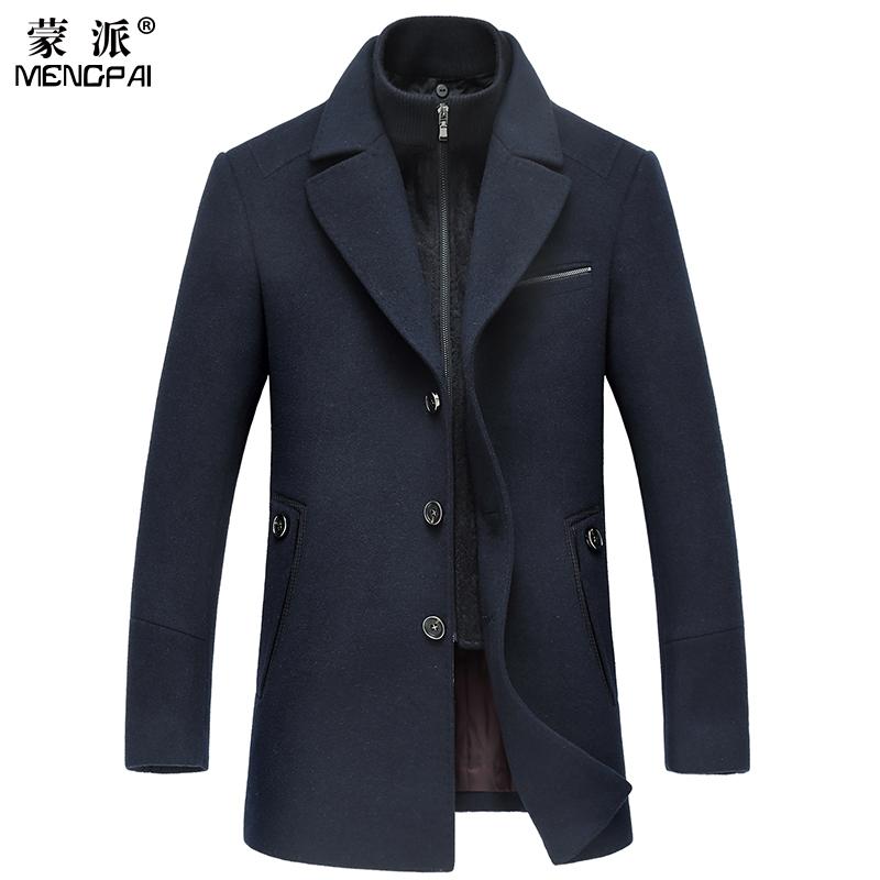 蒙派男裝毛呢大衣商務休閑男士中長款羊毛加厚翻領呢子風衣外套