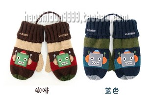 2 5 years old winter Korean children s cartoon robot even velvet rope wool double mittens boys and girls