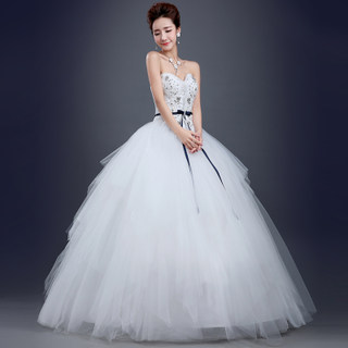 Wedding gowns 2015 new spring fashion studded snap strap fitted bodice bridal plus size slimming skinny summer