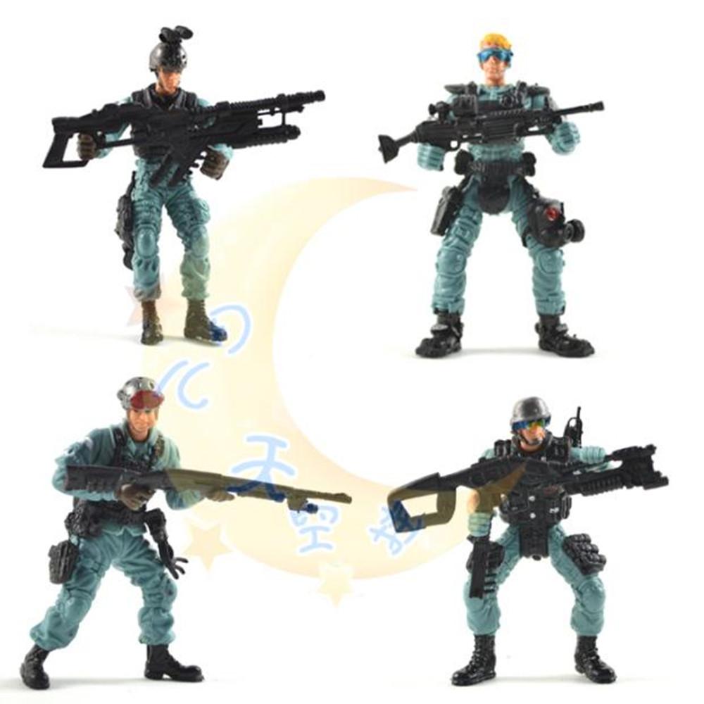 美国兵人警察玩具战争儿童静态模型  特种部队大兵人关节可动枪支