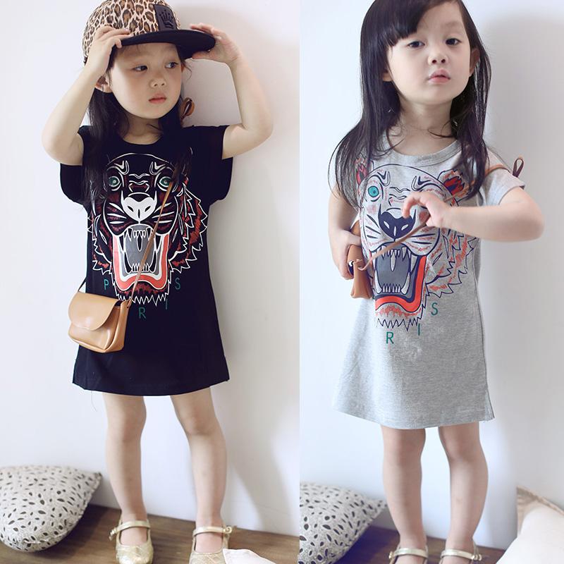 Ребятишки 2017 лето ребенок стеллер длинная модель T футболки юбка корейская волна ребенок одежда девочки печать платье