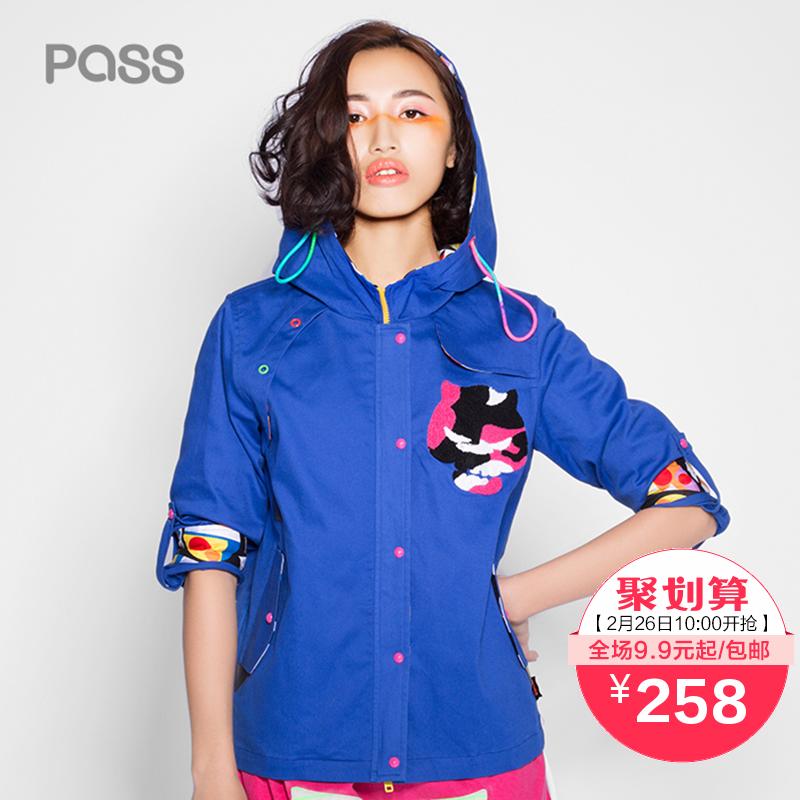 PASS2016 весной школа новой женской моды молнии пальто с капюшоном ветровка Ветер плавности случайные камуфляж печати