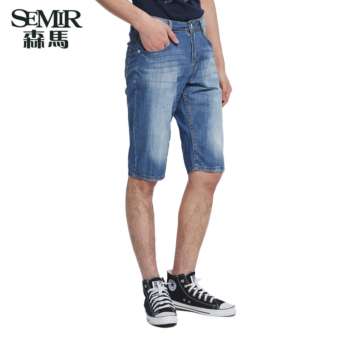 森馬男士牛仔短褲  水洗直筒六分褲 男裝 6分牛仔褲 男