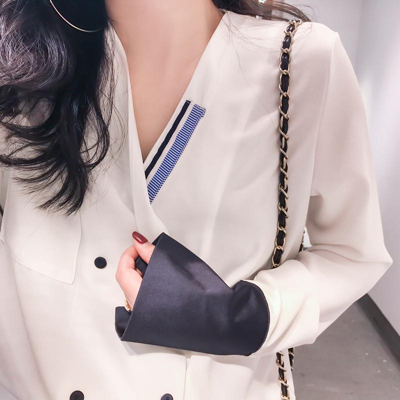 CICI 2018春夏新款女装 气质款袖子拼接双排扣V领雪纺衬衫上衣