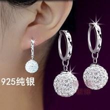 奥地利闪钻水晶球耳环耳挂 正品 礼物 925纯银耳坠耳扣女 韩国时尚
