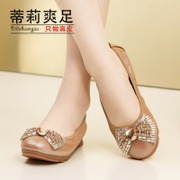 Leather flat bottom shallow round head women's shoes Crystal shoes casual shoes new 2015 spring Tilly cool foot